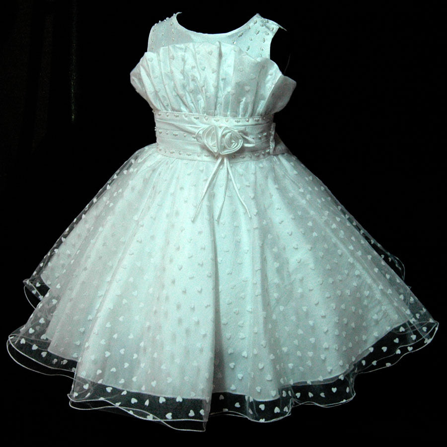 White gorgeous wedding pageant party bridesmaid flower girls dresses