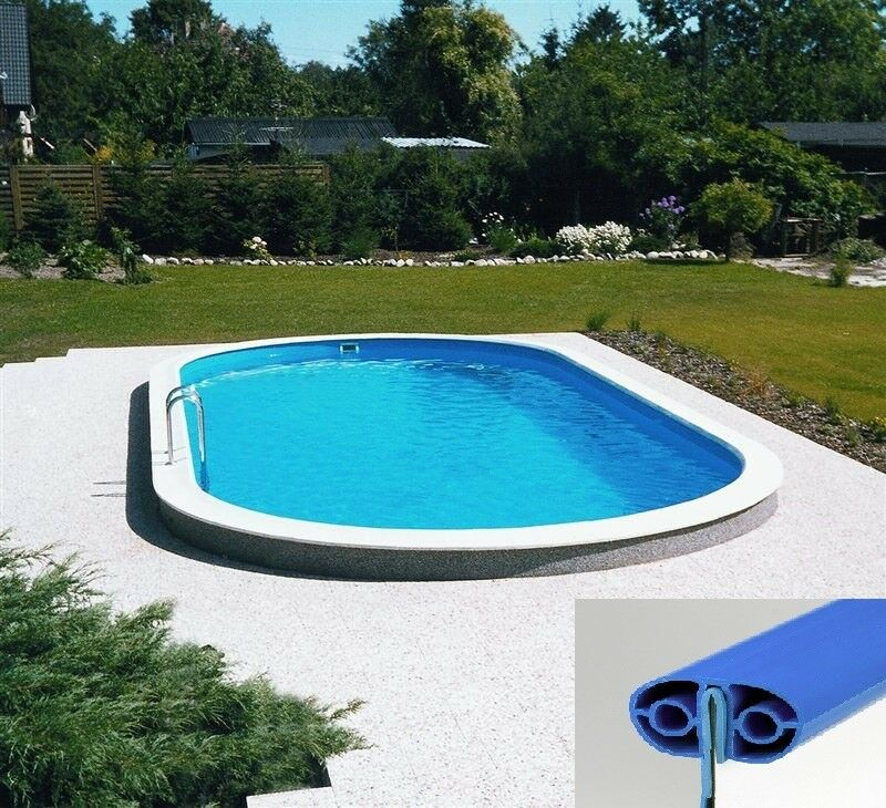Pool set komplett oval ovalform becken stahlwand swimmingpool folie adriablau ebay - Stahl swimmingpool ...