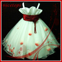 Kids Reds White Christmas Pageant Flower Girls Dresses AGE SIZE 2-3-4-5-6-7-8-9Y
