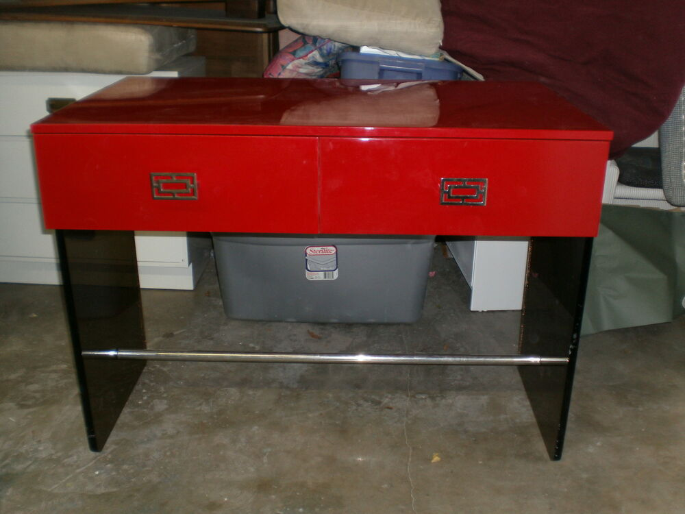 Hot Mod Chinoiserie 70 S Red Lacquer Lucite Chrome Desk Ebay
