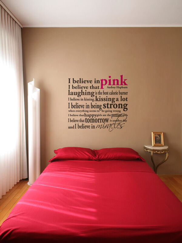 I Believe In Pink Audrey Hepburn Quote Wall Lettering