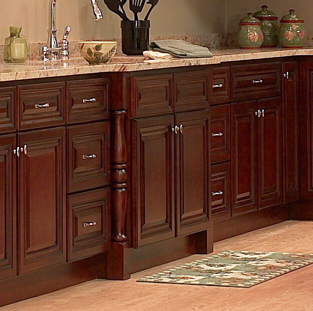 Wood KITCHEN CABINETS 10x10 RTA JSI Georgetown Cherry Stained EBay