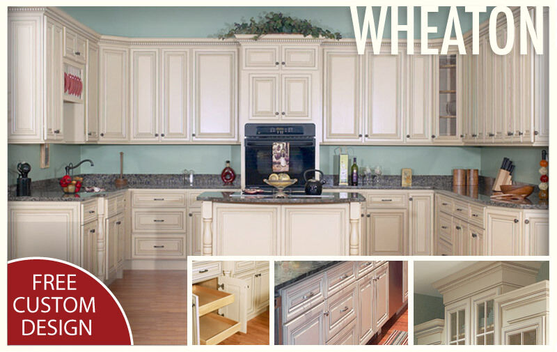 All Solid Maple Wood KITCHEN CABINETS 10x10 RTA Wheaton Cream Painted Maple  | EBay