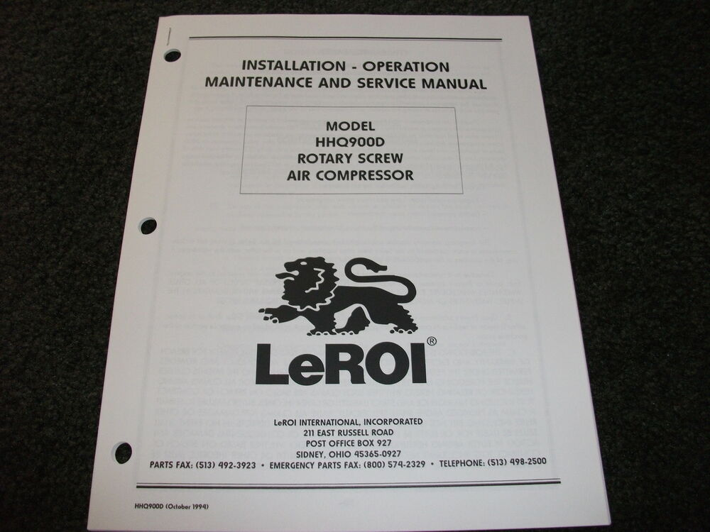 Le Roi Hhq900d Air Compressor Operation Service Manual