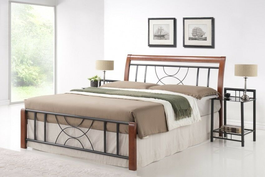 metallbett bett cortina 180 x 200 incl lattenrost bettgestell holzbett bett ebay. Black Bedroom Furniture Sets. Home Design Ideas