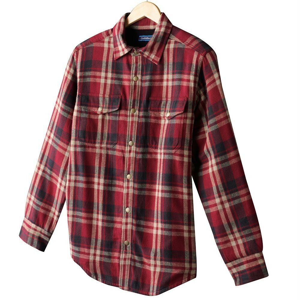 croft barrow plaid flannel shirt jacket fleece lined. Black Bedroom Furniture Sets. Home Design Ideas