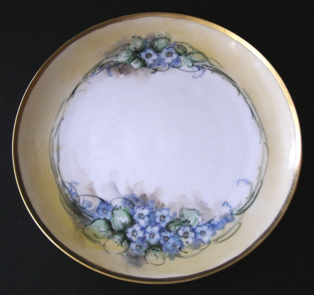 Hand Painted Plates : Antique limoges france hand painted violets plate signed