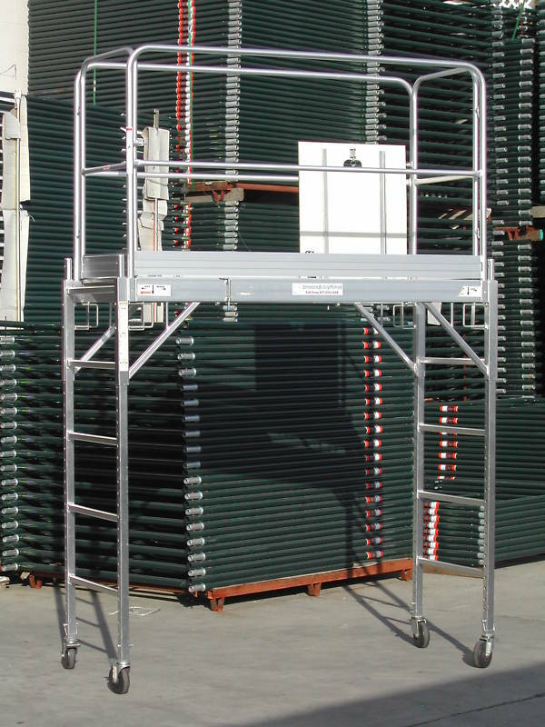 Aluminum Rolling Scaffold : Aluminum scaffold rolling tower deck standing high with