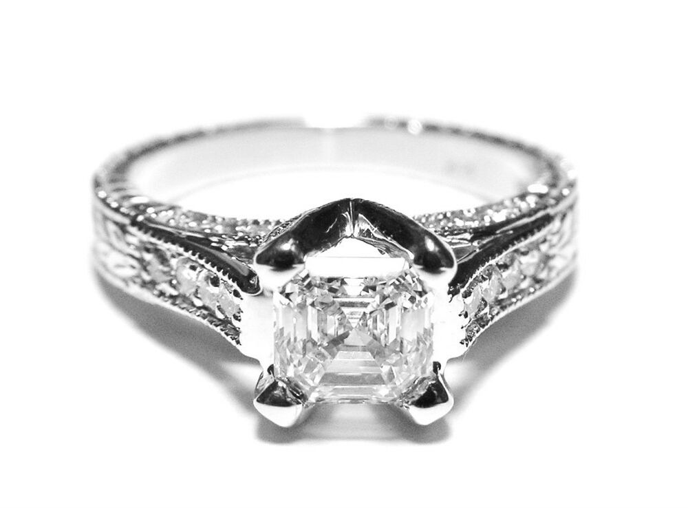 1.11 Carat Asscher Cut Diamond Engagement Ring D IF | eBay
