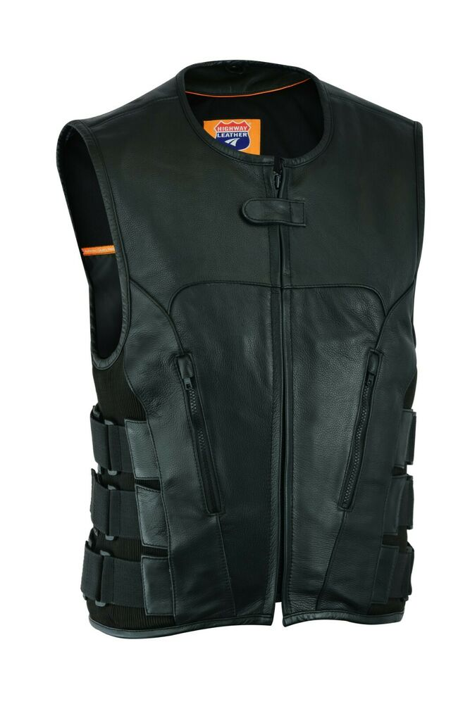 Bullet Proof Style Leather Motorcycle Vest Replica For