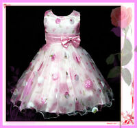 P3211 Pinks Floral Bridal Party Flower Girls Pageant Dresses SIZE 3-4-5-6-7-8Y