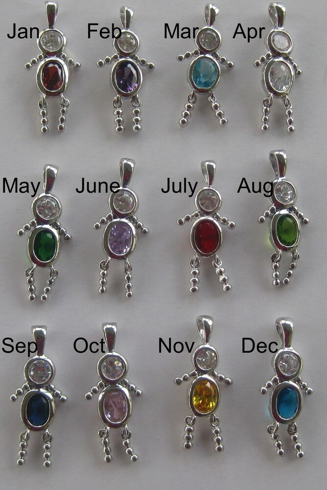 Silver Boy Birthstone Brat Kid Baby Charms All
