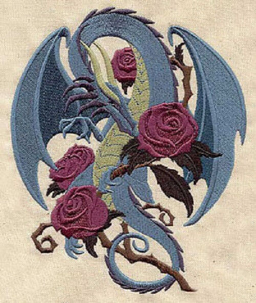 Rose Embroidered Towels: DRAGON SMELLING THE ROSES SET OF 2 HAND TOWELS EMBROIDERED
