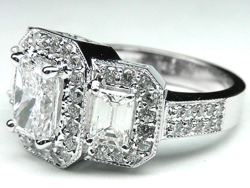 226 carat radiant three stone vintage diamond engagement for Where can i sell my old wedding ring
