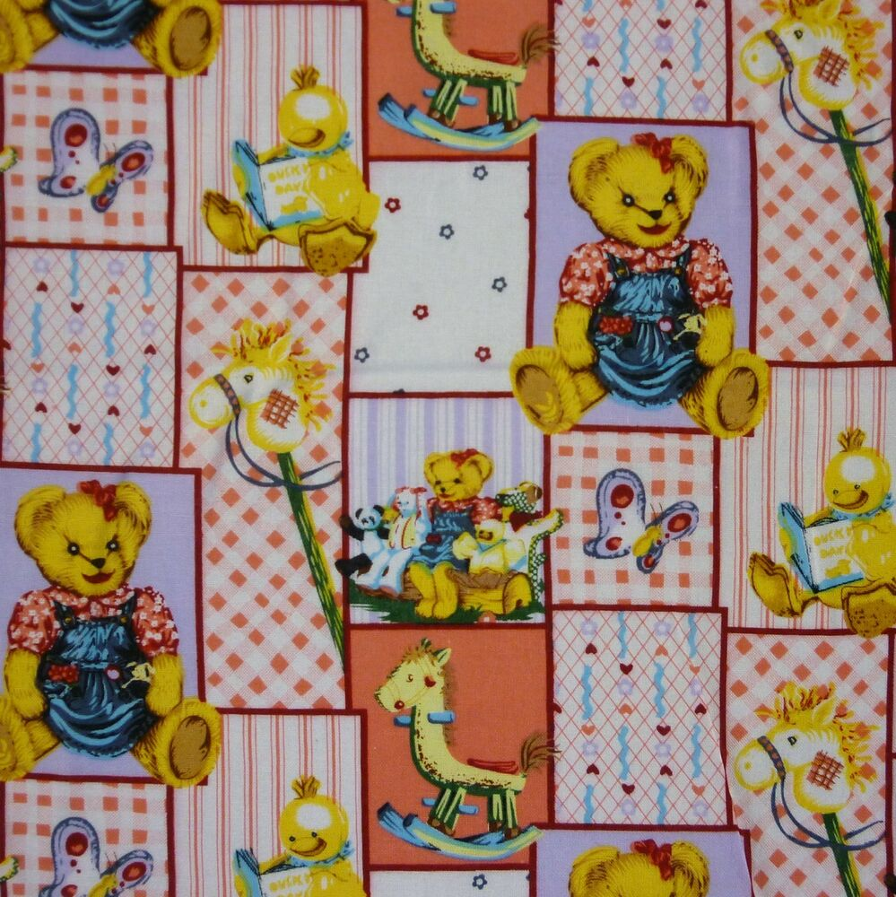 Pastel patchwork 100 cotton fabric with teddy bears for Nursery fabric uk