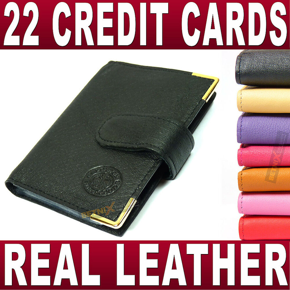 Real Leather Credit Card Holder 22 Cards Removable Sleeves Wallet Ladies Gent S Ebay