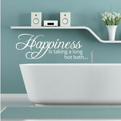 Happiness Is A Long Hot Bath   Wall Sticker Quote Decal Bathroom Vinyl Adhesive
