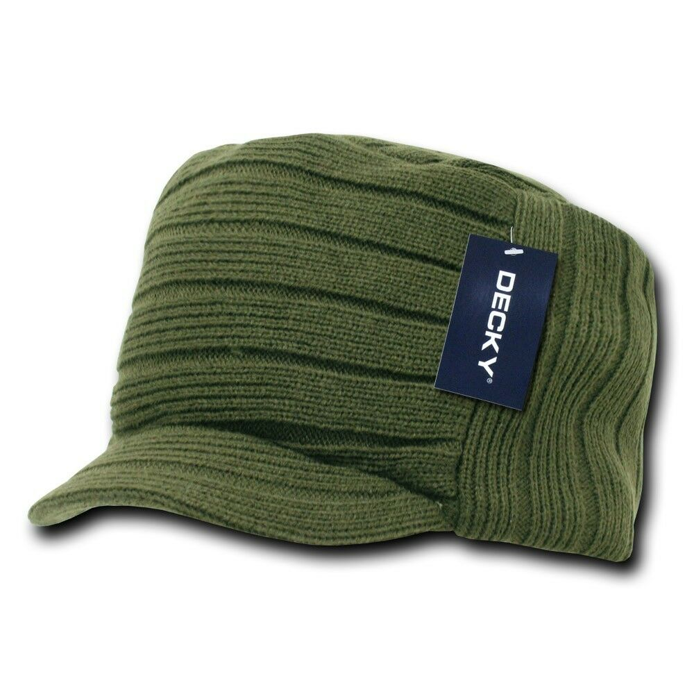 Olive Green Knit Flat Top Visor Cap Hat Gi Military Army