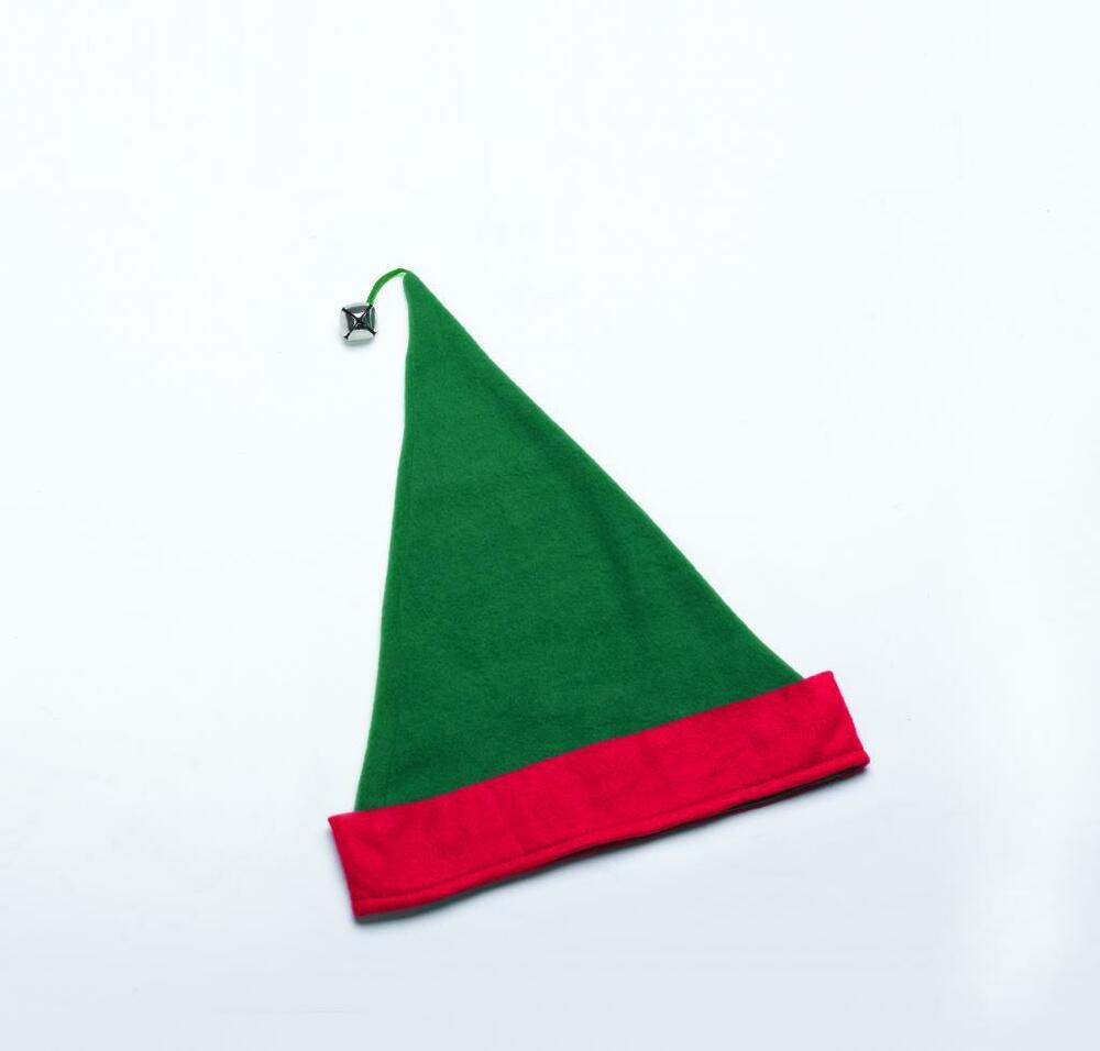 Adult Christmas Santa Claus Green & Red Elf Costume Hat W/ Bell   eBay