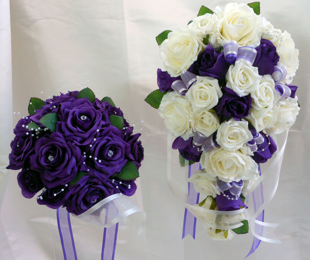 White Wedding Flowers: WEDDING BOUQUET SET PURPLE & WHITE ROSES WITH PEARLS