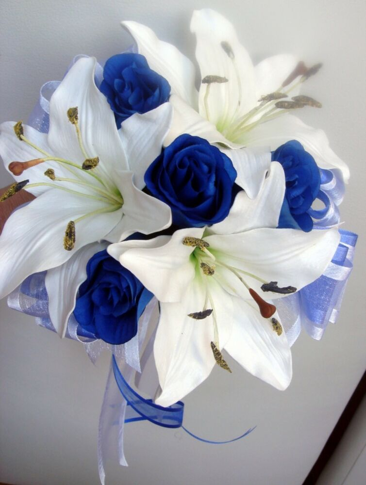Bridesmaids Posy Wedding Bouquet Real Touch Ivory Lillies