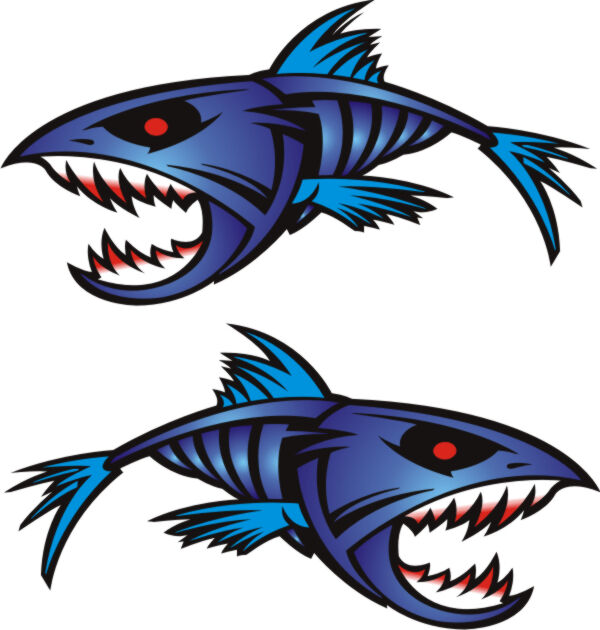 2 large blue piranha 450mm x 250mm boat graphics stickers for Free fishing stickers