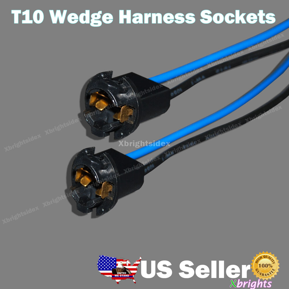 2pcs T10 Wedge Light Instrument Bulb Extension Connector Wiring ...