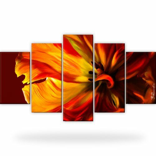 tulpe blume natur bild bilder leinwand wandbild kunstdruck 5 teilig ebay. Black Bedroom Furniture Sets. Home Design Ideas