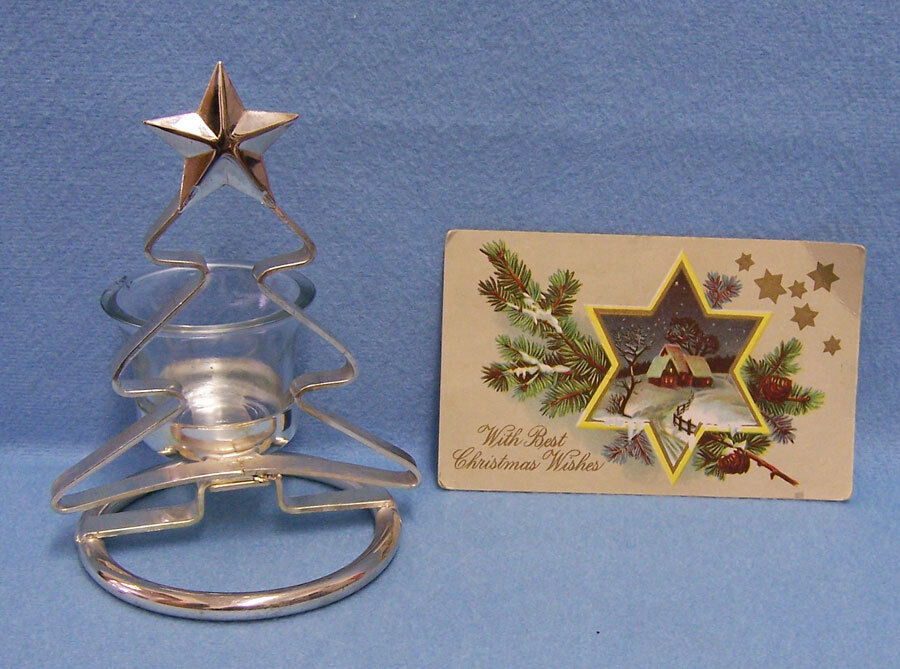 Christmas Tree Votive Glass Candle Holder Silvertone Metal ...