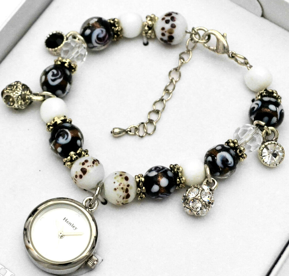 New Charm Bracelets: Ladies Henley Sparkly Crystal Charm Bracelet Watch Black