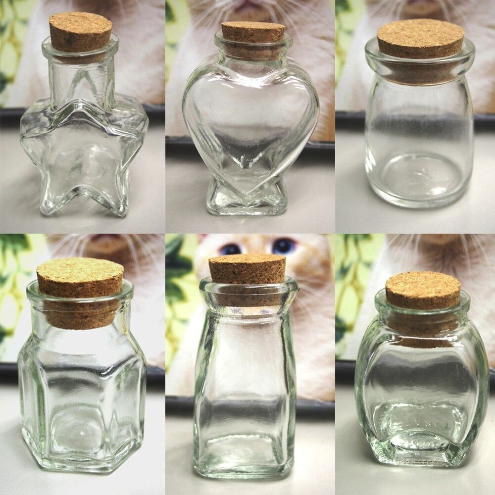Cork Wedding Memory: Mini Glass Favor Jars Bottle With Cork Keepsake Souvenir