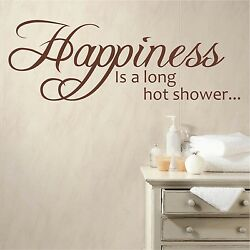 Happiness Is A Long Hot Shower   Wall Quote Decal Sticker Bathroom Vinyl Words