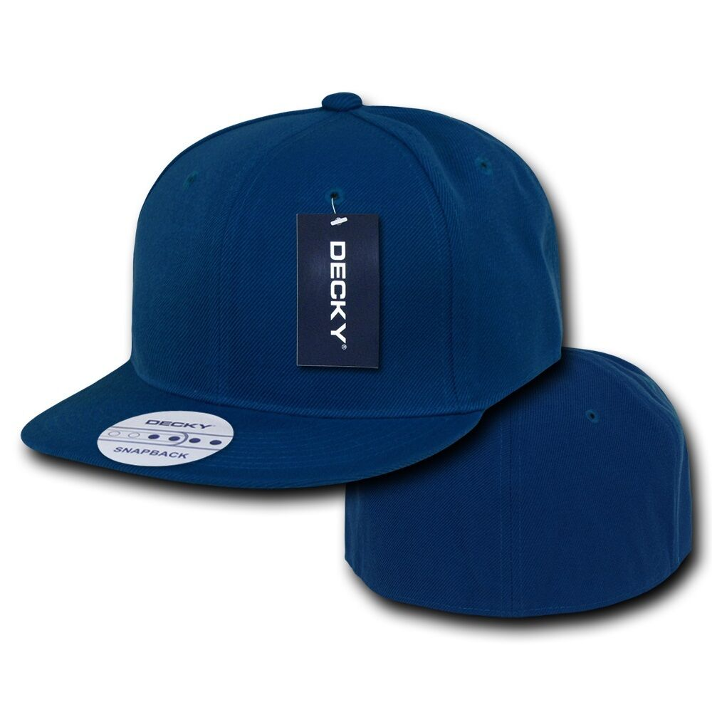 Royal blue fitted flat bill plain solid blank baseball cap