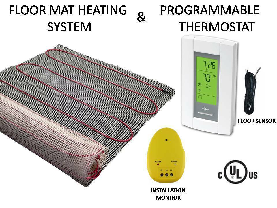 30 sqft mat electric floor heat tile radiant warm heated for Electric radiant heat thermostat