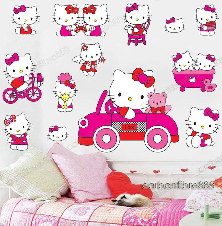 Large Pink HELLO KITTY Wall Stickers Girls Room Decal Decor Paper Vinyl  Reusable | EBay