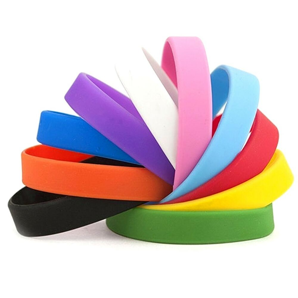 10 Silicone Wristbands Blank NEW Rubber Wrist Bands ...