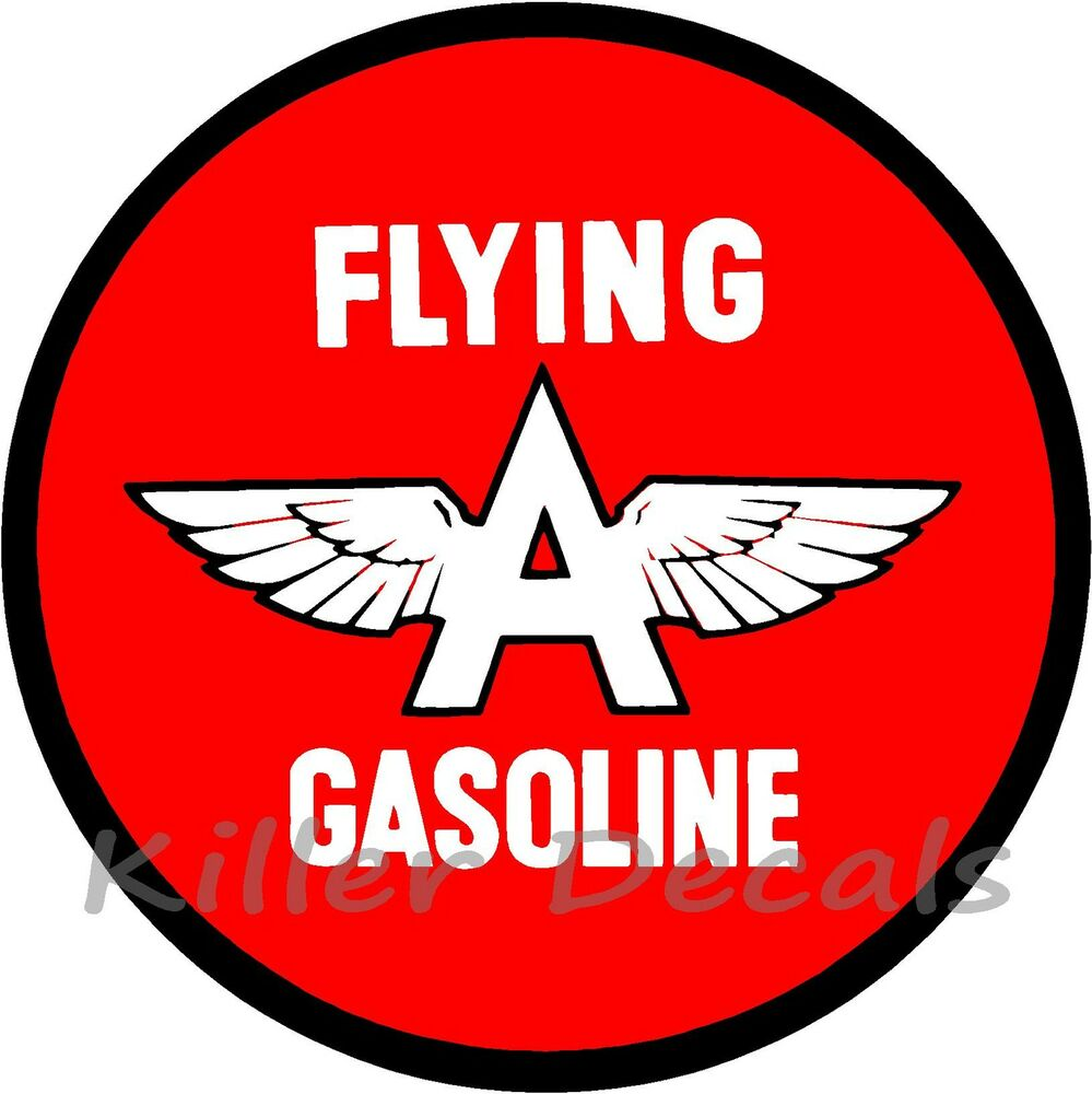 """12"""" FLYING A GASOLINE DECAL GAS AND OIL GAS PUMP SIGN"""