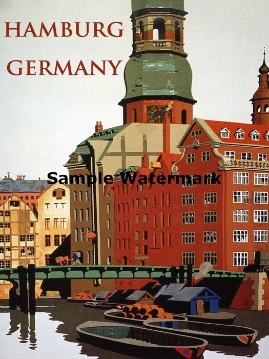 hamburg germany european german travel tourism vintage poster repro free s h ebay. Black Bedroom Furniture Sets. Home Design Ideas