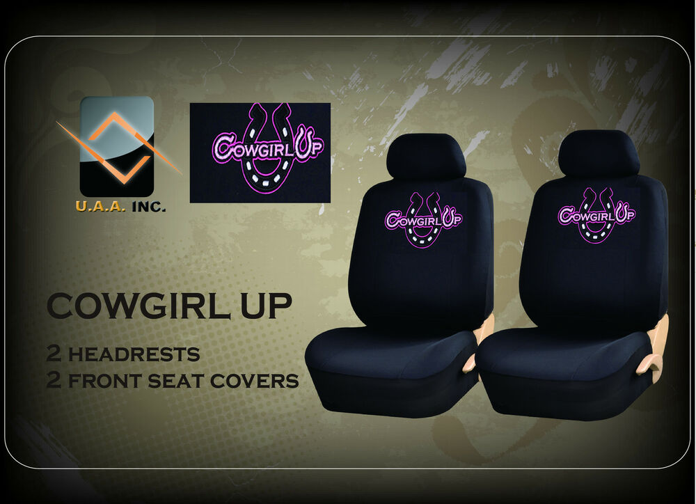 4pc Cowgirl Up Universal Low Back Black Seat Covers Ebay
