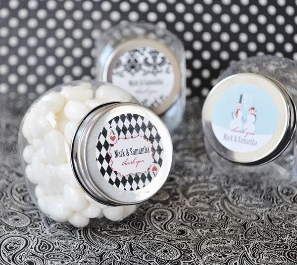 24 Elite Wedding Personalized Candy Jars Favors Lot EBay