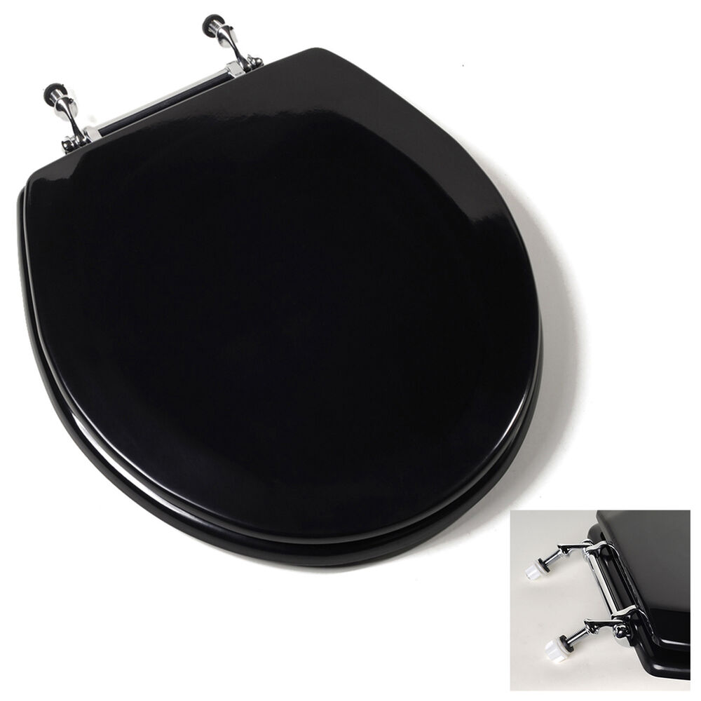 Deluxe Black Round Wood Toilet Seat Adjustable Chrome Hinges EBay