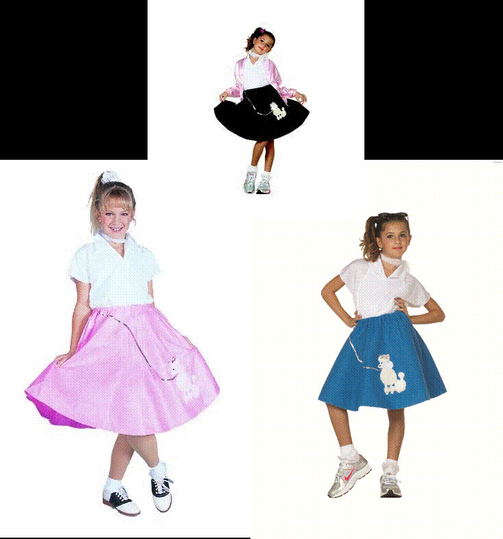 1950S 50S GIRL POODLE SKIRT SCARF COSTUME CHILD SOCK HOP DIVA COSTUMES 91031