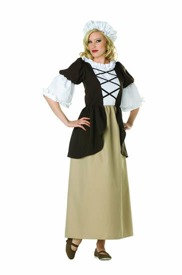 COLONIAL LADY WOMAN COSTUME PEASANT PILGRIM PIONEER ...