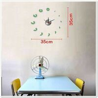 Large Vinyl Designer Decor Wall Clock Sticker Mural Art - Green Leaf Flowers