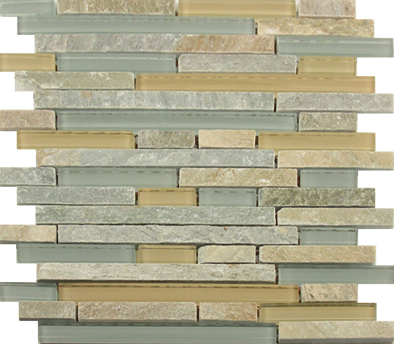 Natural Stone Glass Mosaic Tile Sample Backsplash 8mm: Sample- Beige Green Natural Stone Glass Mosaic Tile