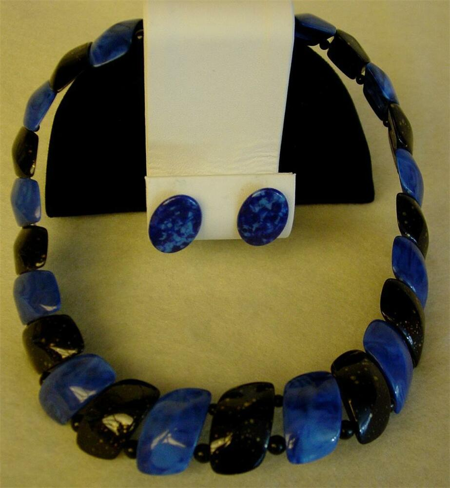 VTG 80s Lucite Plastic Necklace Choker Bib Wide Marbled ...