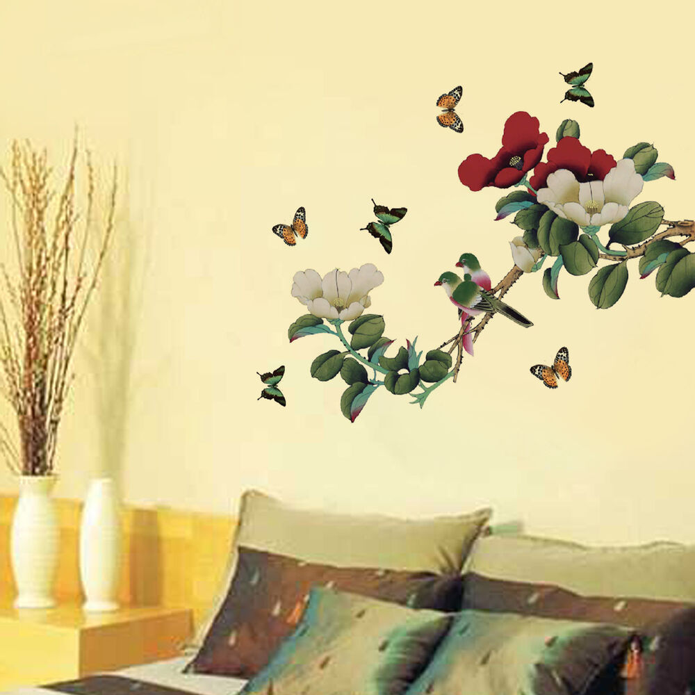 Peony flower butterfly wall stickers decal art mural for Butterfly mural wallpaper