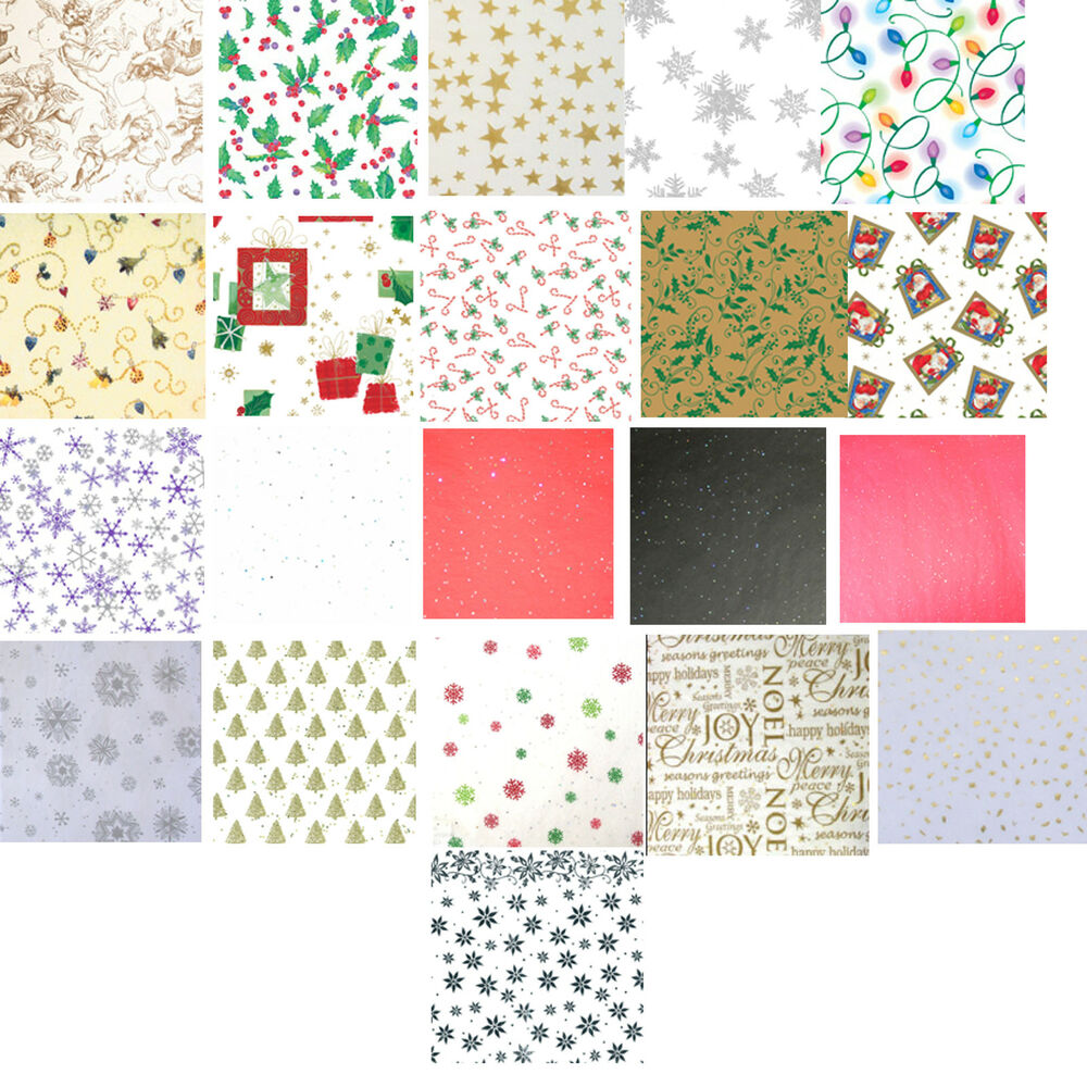 Printed Patterned Christmas Tissue Wrapping Paper 5 Sheets