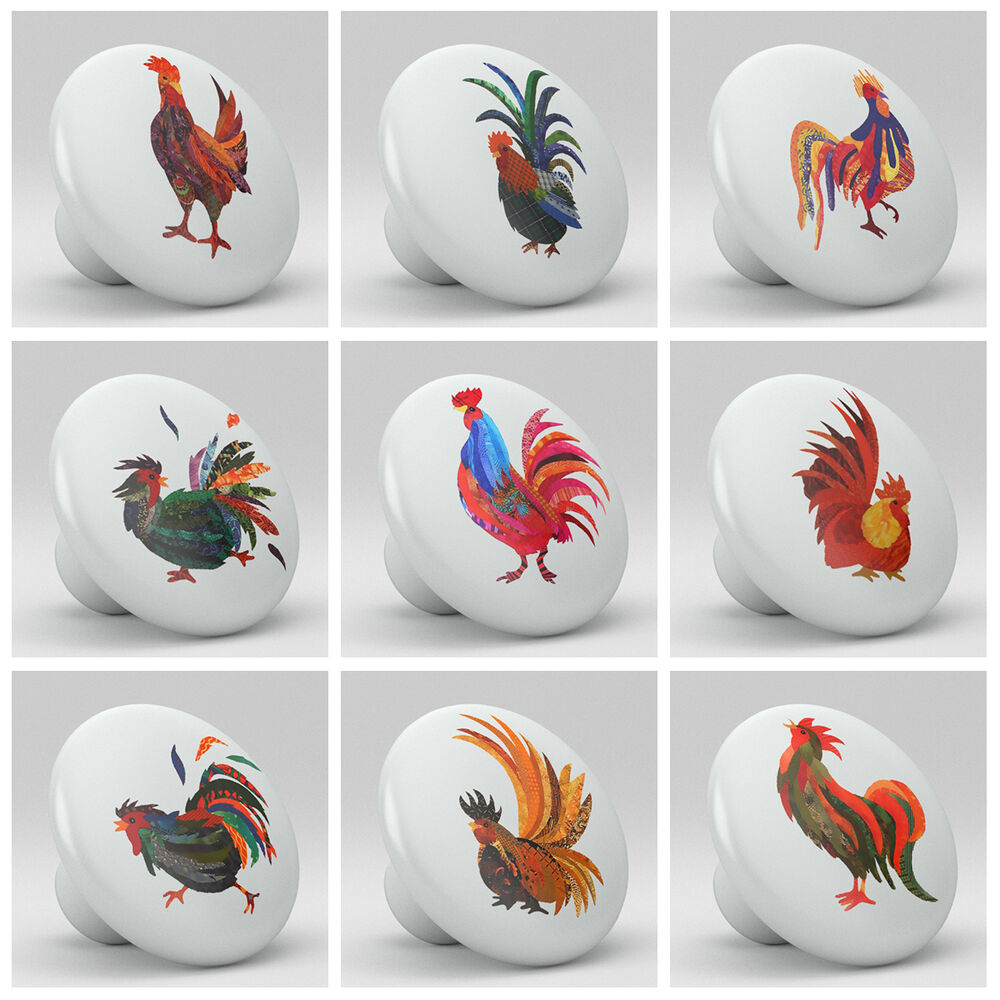 colorful kitchen cabinet knobs set of 9 roosters chicken colorful ceramic knobs pull 13705