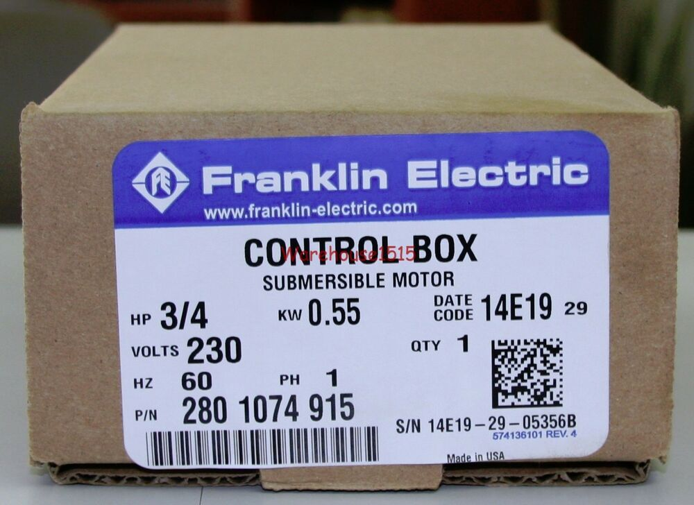 Franklin Electric 2801074915 Fe 3 4 Hp Control Box For 3